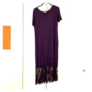 Navy T-shirt dress with fringe bottom